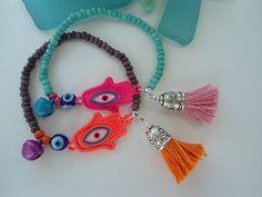 SALE HAMSA and GYPSY Bell Bracelet  Bohemian Amulet by Nezihe1, $12.99