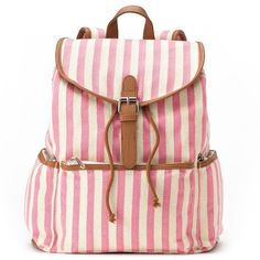 Candie's Nicole Vertical Striped Backpack (Pink) ($36) ❤ liked on Polyvore featuring bags, backpacks, pink, candie's, stripe backpack, vegan backpack, vegan leather bags en faux leather backpack
