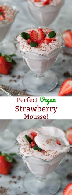 Fluffy and light Raw Vegan Strawberry Mousse! Made with aquafaba. It's a refined sugar-free dessert that's easy to make and delicious!