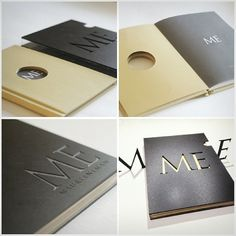 custom graphic design portfolio book with engraving and cut outt