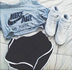 Trendy how to wear nike air force outfit high tops ideas Komplette Outfits, Teen Fashion Outfits, Outfits For Teens, Sport Outfits, Trendy Outfits, Summer Outfits, Nike Fashion, Fashion Shoes, Summer Workout Outfits