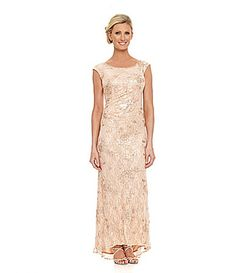 KM Collections Beaded Lace Gown #Dillards $210 Champagne size 12 (5/31/2014)