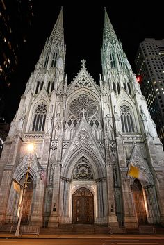 Patricks Cathedral NYC At Night
