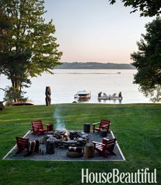 How gorgeous is this?! perfect backyard, leading fire pit and lake!!! toHouse Beautiful - Thom Filicia's lake house