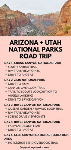 Packed winter road trip itinerary with 5 days in Arizona and Utah with best national parks to visit in winter! Beautiful winter hikes. UNITED STATES winter vacation ideas Vacation Ideas, Us Vacation Spots, Utah Vacation, Vacation Trips, Pacific Coast Highway, West Coast Road Trip, Us Road Trip, Trip To Grand Canyon, Grand Canyon National Park
