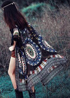 636be92125e91 Multicolor Floral Print Tassel Hollow-out Fashion Chiffon Kimono Cover Up  Borla