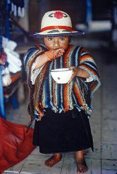 Otavalo Indian child in Quito, Ecuador.