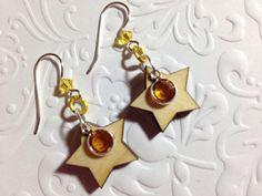 Earrings wood stars Swarovski crystals non by CharmingLadybug Star Earrings, Drop Earrings, Ladybug Jewelry, Wood Stars, Rainbow Loom, Swarovski Crystal Earrings, Lead Free, Dangles, Great Gifts