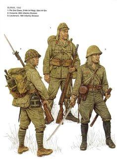Birmania, 1942 1: Soldado de 2da clase, 214° Regimiento de Infanteria, 33° Division de Infanteria 2: Cabo, 55° Division de Infanteria 3: Teniente, 18° Division de Infanteria