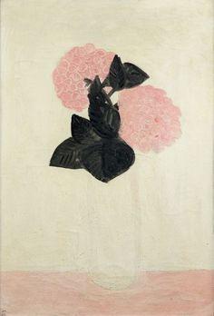 SANYU (1901-1966) Deux gros hortensias roses, dans un vase blanc , février 1931. Huile sur toile, signée en bas à gauche, contresignée, située Paris et datée 2.1931 au dos. Annotée au verso du numéro d'inventaire… - Aguttes - 02/06/2015