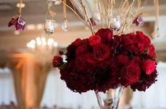 Stacy K Floral - Elevated centerpiece with red roses and dahlias #red #tall #centerpiece #weddings