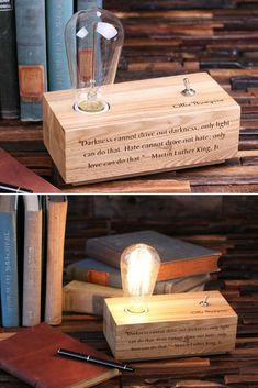 Lovely Custom Handmade Wood Desk Lamp - Desk Lamps, Wood Lamps -  Perfect Handcrafted Edison Lamp personalized! Unique gift idea or special treat for yourself. You can engrave anything, clip art, graphics, etc. on the front panel …    Read More »  #Desklamp #Edison #Handmadelighting #Lamp #Lightbulb #Lighting #Lightingdesign #Rusticlighting #Tablelamp #Vintagelighting #Woodlamp #Woodwork #Woodworking