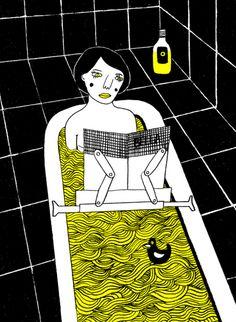 Reading in the bathroom / Lectura en el baño…. cualquier sitio es especial para leer (ilustración de Katja Spitzer)