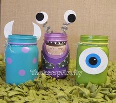 Set of 3 Monsters Inc Inspired mason jar centerpieces,Mason jar room decor,monsters Inc baby shower centerpiece,utensil holder,monster party Monsters Inc Baby Shower, Monsters Inc Boo, Monster Baby Showers, Monsters Ink, Monster 1st Birthdays, Monster Inc Party, Monster Birthday Parties, Monster Inc Cakes, Monsters Inc Centerpieces
