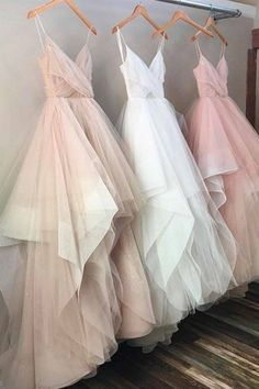 Tiered champagne tulle prom dress, ball gown, cute long dress with straps