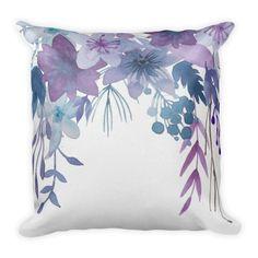 Pillow Blue Purple Flowers Watercolor Throw Pillow