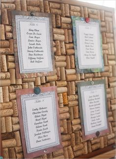 Wine Cork Corkboard as a Seating Chart Display