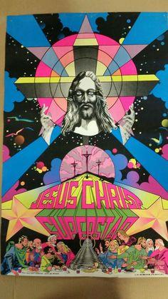 Vtg Sealed BLACK LIGHT POSTER Jesus Christ Superstar NOS Psych THIRD EYE NYC 71 #Vintage