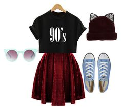 """😸😸😸Random"" by strangemusiclover ❤ liked on Polyvore featuring Silver Spoon Attire, Quay and Converse"