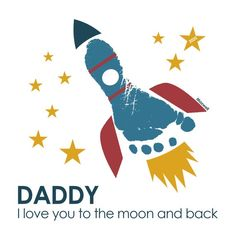 Personalised Custom Baby Child Kids Foot Print I Love You Rocket Stars Card Gift Birthday Mummy Dadd Diy Father's Day Crafts, Father's Day Diy, Baby Crafts, Daddy I Love You, New Daddy, Toddler Themes, Toddler Art, Happy Birthday Mother, Baby Birthday