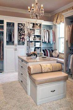 Traditional Closet with Bordeaux Dream Granite Countertop, Built-in bookshelf, Window seat, Venice Raised Panel Cabinet Door