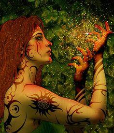 Forgotten Magic - Tribal Tattoo Sorceress by Kimberly Clark