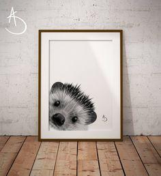 HEDGEHOG PRINT, Nursery decor, Printable Poster, Hedgehog Art, Black and White, Printable Poster, Woodland Animals, Woodland Printables, by AmberstoneDesign on Etsy