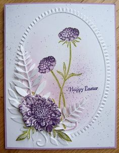 Stamps: Field Flowers Paper: white, Perfect plum Ink: Elegant Eggplant, Perfect Plum, Old Olive Accessories: embossing folder, Memory Box leaf die