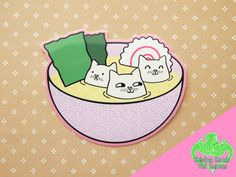 Tofu Cats Vinyl Sticker, Miso soup, Cute cat sticker, Funny cat, Japanese food, Cute Sushi, Cat decal, japanese waves, Kawaii cat by ShopNDS on Etsy https://www.etsy.com/listing/287665047/tofu-cats-vinyl-sticker-miso-soup-cute