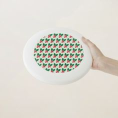 Christmas Red Berries Green Leaves Pattern Wham-O Frisbee - home gifts ideas decor special unique custom individual customized individualized