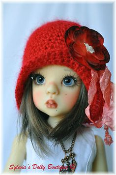 Red Crochet Hat Vintage Style for Kaye Wiggs MSD BJD by Sylwia | eBay