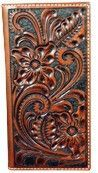 (TD1146137W4) Western Tooled Leather Rodeo Wallet/Checkbook Cover by Wrangler