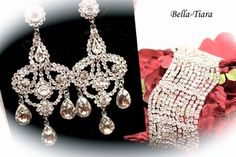 """Beautiful new design from our Luxurious Collection - bold dazzling royal inspired swarovski crystal chandelier earrings measure approx 2"""" long x 1.5 wide a true beauty with bold elegant wide swarovski crystal bracelet.  Bracelet measures approx 2"""" wide fits all wrist sizes."""
