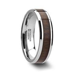 (6mm) Are you an Anchorman fan? This rich Black Walnut Wood Inlay Wedding Band will be the perfect a complement to your library of leather bound books.