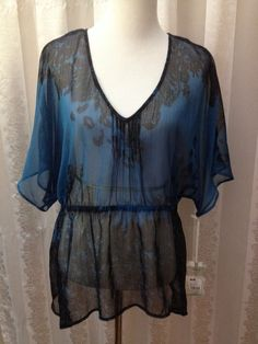 Converse Sheer Top Blue and Black Peplum Kimono Sleeve Size XL New  #ConverseOneStar #Blouse