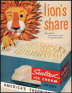 Vintage magazine ad SEALTEST ICE CREAM from 1955 Lions Share carton pictured