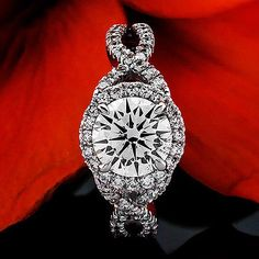 1.33 CT ROUND CUT DIAMOND HALO ENGAGEMENT RING 14K WHITE GOLD - EXCLUSIVE DEAL! BUY NOW ONLY $1161.0