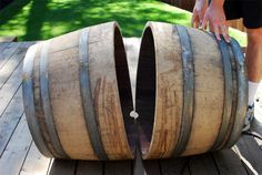 How to cut a wine barrel in half