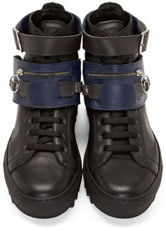 Raf Simons Black & Navy Leather Buckle High-Top Sneakers