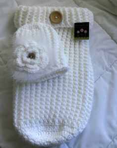 "Newborn Snowy White Baby Cocoon and Hat Set. I may have found our ""take home"" outfit! ;)"