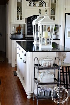 FARMHOUSE KITCHEN -large white lanterns-stonegableblog.com