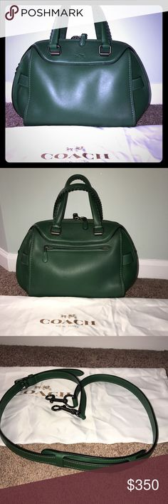 Ace Satchel- Coach fall 2015 collection. Glove tanned leather, gunmetal hardware, Racing Green, short handles w/cross body strap. Short handles also have whipstitch detail. Iconic horse and carriage embossed on front and turn lock details on sides. Never been used unfortunately I do not have the tags because it was a gift; thought I liked the color but I decided against it. Style #37017 Coach Bags Satchels