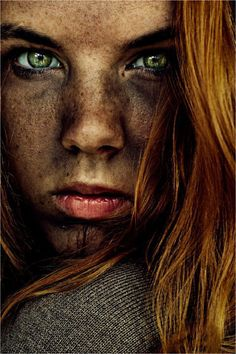 Expression, intense green eyes, female beauty, attitude, powerful, strong, face, portrait, photo