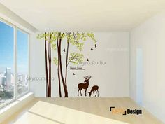 deer forest wall decals forest wall stickers by DOMOREwallstickers