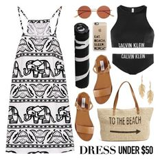 Dress Under $50 by lgb321 on Polyvore featuring Calvin Klein, Steve Madden, Straw Studios, Annette Ferdinandsen, Casetify and Oliver Peoples
