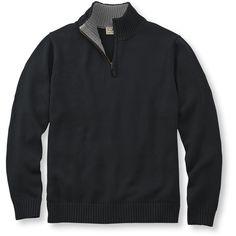 L.L.Bean Double L Cotton Sweater, Quarter-Zip ($45) ❤ liked on Polyvore featuring men's fashion, men's clothing, men's sweaters, mens 1/4 zip sweater, mens quarter zip sweater and mens cotton sweaters