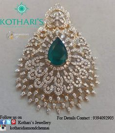 Variety of designs with best quality & best price By Kothari's Chennai Emerald Jewelry, Diamond Jewelry, Gold Jewelry, Diamond Earrings, Jewelery, Pendant Set, Gold Pendant, Diamond Pendant, Urban Jewelry