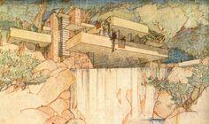 Drawing of Fallingwater by Frank Lloyd Wright