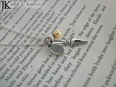 Inspire Pen Nib Word Charm Necklace With Your Choice of Color #writergift #authorgift #writers #writernecklace #writerjewelry