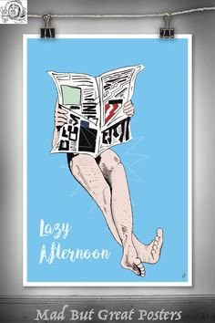 Lazy Afternoon - René Gruau inspired, original poster, vintage, wall art, home decor, gift, fashion print, vogue, fine art, illustration, di by MadButGreatPosters on Etsy